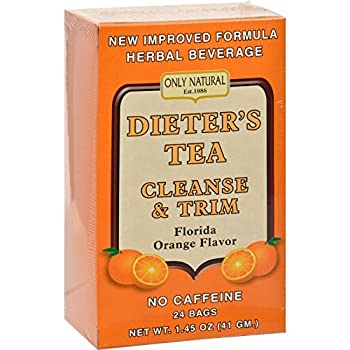Only Natural Dieters Tea Cleanse and Trim Orange Flavor - 24 Tea Bags - Herbal Beverage - No Caffeine - Facilitate the removal of body toxins