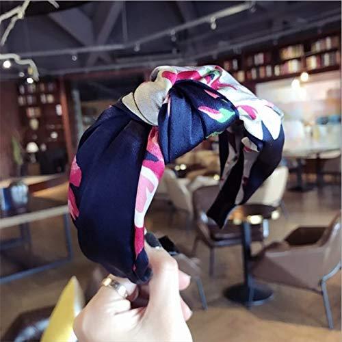 TSEINCE Accessoires de Cheveux à la Mode Satin Tissu Floral Simple Noeud Moyen noué Bandeau à Larges Bords Bandeau Serre-tête Bandeau Femmes Royal Blue