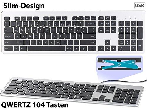 GeneralKeys Computertastatur: USB-Voll-Tastatur, Super-Slim mit Scissor-Tasten, Ziffernblock, flach (Tastatur Kabel)