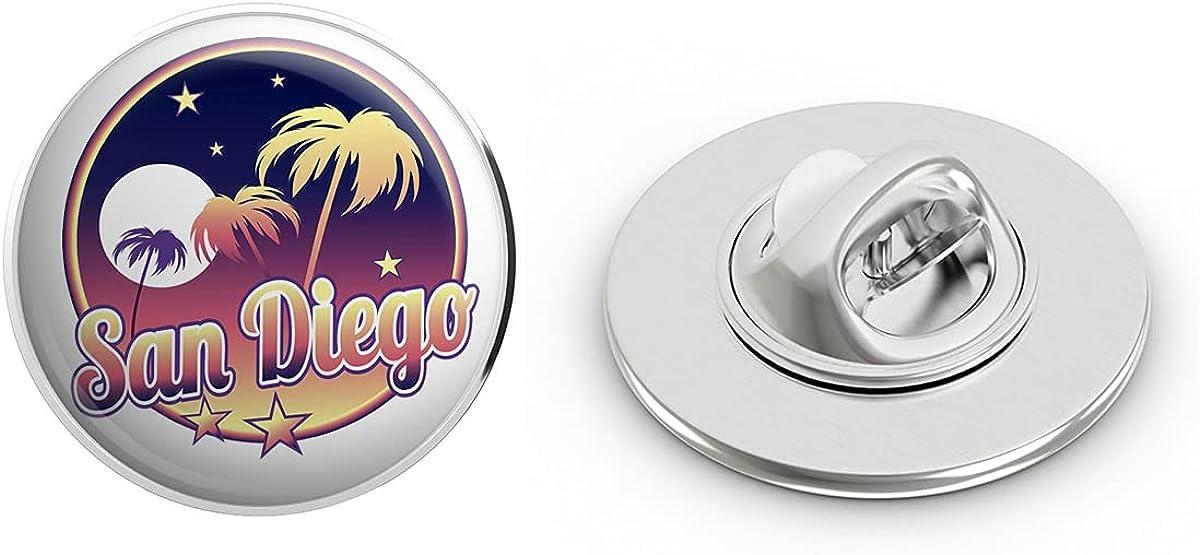 BRK Studio Cool Retro Vintage Beach City Travel Icon - San Diego Round Metal 0.75