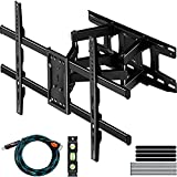 C-MOUNTS Full Motion TV Wall Mount Bracket Dual Articulating Arms Swivels Tilts Rotation for Most 37-75 Inch Flat Curved TVs,Holds up to 110lbs, Max VESA 684x400mm,Fits up to 16