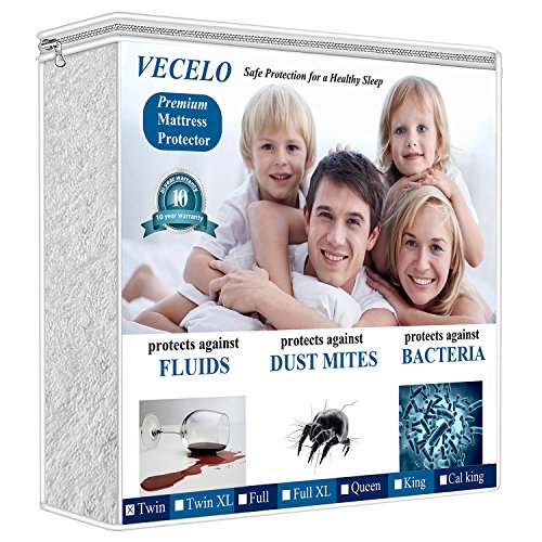 VECELO 4 Layers Reinforced Waterproof Mattress Protector Cover Hypoallergenic 100% Vinyl Free, Deep Pocket & Fitted Sheet, Twin Size, White