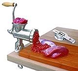 Manual–Picadora de carne (Talla 8, hierro fundido–Galvanizado, con accesorio para galletas), Nuevo