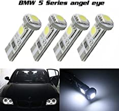 Partsam 2X White Error Free Angel Eyes 2825 T10 159 259 555 147 558 192 161 158 194 124 585 656 657 464 655 Canbus No Error HID Xenon 6000K LED Bulbs Replacement for BMW 5Series E60 2004-2007