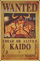 海賊アニメKAIDOカイド さびた錫のサインヴィンテージアルミニウムプラークアートポスター装飾面白い鉄の絵の個性安全標識警告バースクールカフェガレージの寝室に適しています