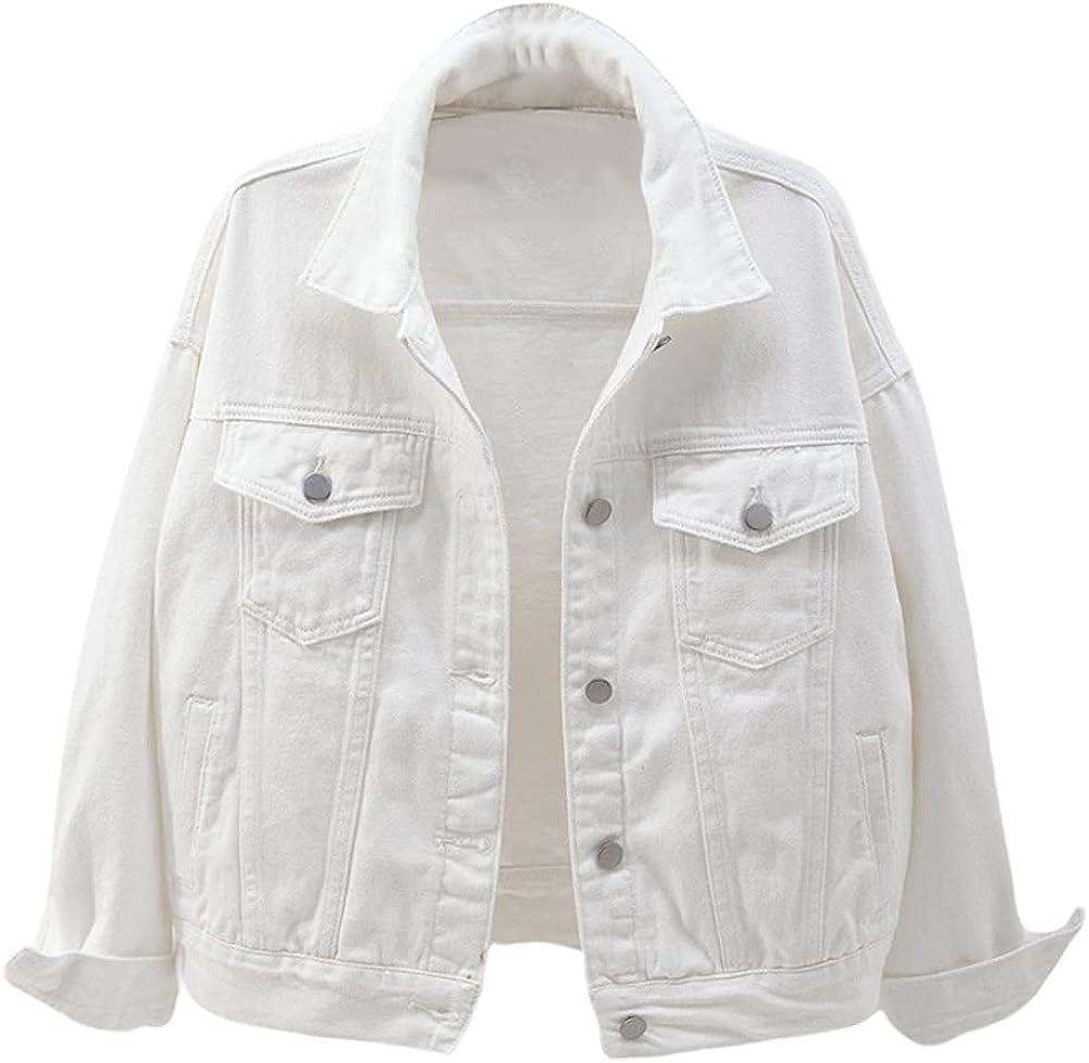 chouyatou Women's Casual Light Button Up Candy Color Short Denim Trucker Jacket
