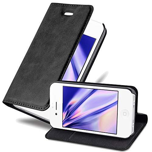 Cadorabo Hülle für Apple iPhone 4 / iPhone 4S in Nacht SCHWARZ - Handyhülle mit Magnetverschluss, Standfunktion und Kartenfach - Case Cover Schutzhülle Etui Tasche Book Klapp Style