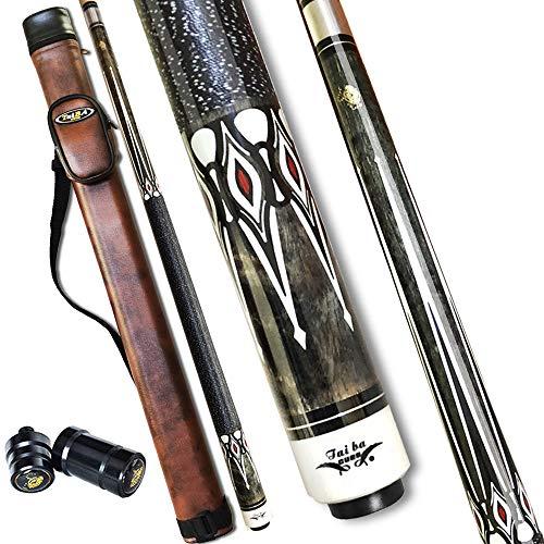 Tai ba cues Billardqueue mit Tasche, Leinen-Wickel-Queue, 13 mm mehrschichtige Lederspitze, 147,3 cm, Hartholz, kanadischer Ahorn, Profi-Billard, 19, 20, 595 g (wählbar) 2-teiliger Billardqueue Stick