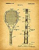 Póster, diseño de raqueta de tenis, regalo para tenis, tenis, decoración de tenis, modelo WB102, vintage., 50 x 70 cm