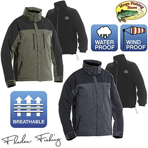 Fladen Fishing Authentic 3in1 Outdoor Jacke - Freizeit & Angeljacke Winddicht Atmungsaktiv Wasserdicht (Grün-Schwarz/Green-Black, XL)