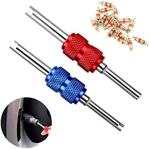 SASONCO ventiel gereedschap stalen as dubbele kop band ventielinzet reparatie ventiel schroevendraaier bandenventiel reparatie gereedschap voor airconditioning 2 stukken met 25 ventielkernen
