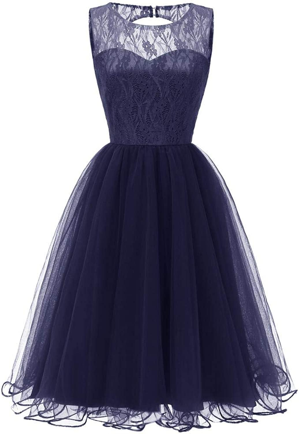 EverBeauty Juniors Vintage Sleeveless Lace Tulle Party Dress Short Aline Prom Homecoming Dress