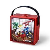 Room Copenhagen Almuerzo con asa de Lego Ninjago, Caja de Almacenamiento portátil, roja, Rojo