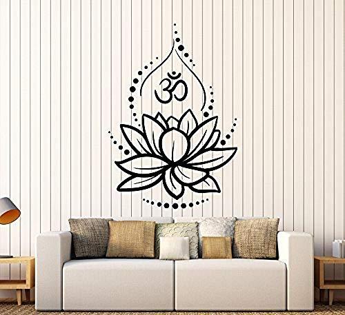 Calcomanías de vinilo grandes, vinilos hindúes de yoga de flor de loto, pegatinas hindúes, pegatinas de pared creativas de decoración de arte, 11 en X 16 pulg.