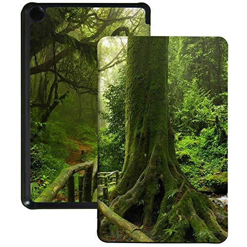 QIYI Funda para Kindle Fire 7 (9ª generación, versión 2019) de piel sintética resistente al agua para tablet infantil, funda tipo libro con función atril y apagado automático, selva tropical