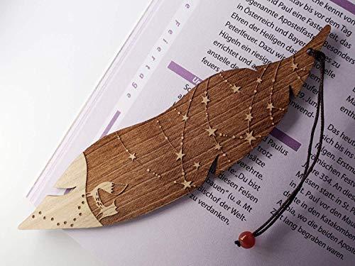 Lesezeichen aus Holz, Fuchs und Sterne, MinaturArt