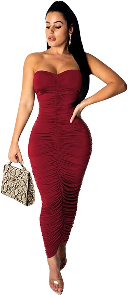 Womens Elegant Strapless Bandeau Tube Top Pleated Ruched Fitted Bodycon Club Maxi Dress Midi S Wine Red
