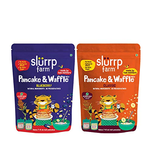 [Apply Coupon] Slurrp Farm Millet Pancake Mix Combo Blueberry & Classic | No Maida, Wheat & Refined White Sugar | Supergrain Millets Rich in Nutrients | 150G Each