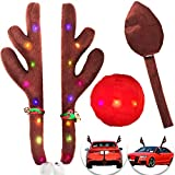 Car Reindeer Antlers Nose&Tail Decorations - LED Car Christmas Antlers Nose&Tail Clothing ...