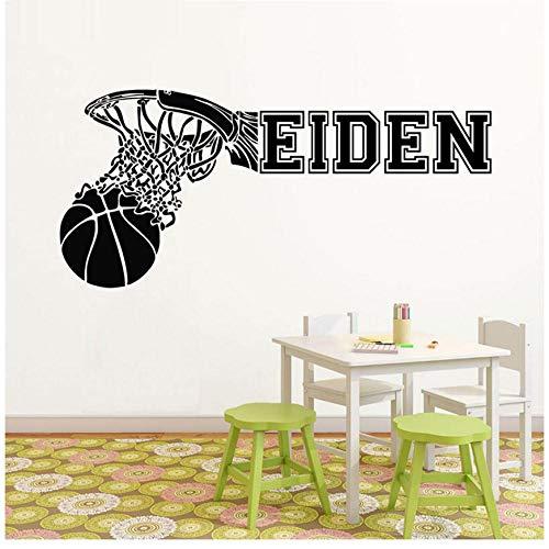 MINGKK - Pegatinas de pared personalizables con nombre de baloncesto para pared, vinilo, decoración de habitación de los niños, impermeable, 77 x 36 cm
