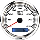 85mm Boat Tachometer Gauge Waterproof 8000RPM Tacho Meter Marine RPM Gauge with LCD Hourmeter Red Backlight for Outboard Car Truck Boat Diesel Engine 9-32V
