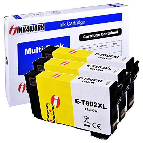 INK4WORK Remanufactured Replacement for Epson 802XL 802 T802XL T802 Ink Cartridge for Workforce Pro EC-4020 EC-4030 WF-4720 WF-4730 WF-4734 WF-4740 Printer (Yellow, 3-Pack) -  T802XL-Y 3 Pack