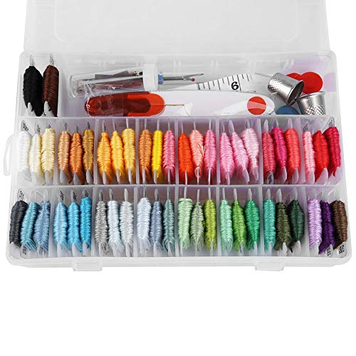 Borduurgaren-kit met doos en 50 kleuren draden en naaien breigereedschap voor DIY vriendschapsarmband snaren Cross Stitch Threads