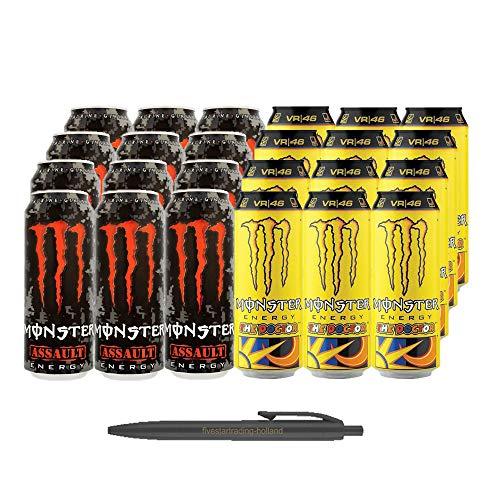 1x12 Monster Assault und 1x12 Monster Rossi The Doctor (Insgesamt 24 Einweg-Dosen x 0,5 L) Inkl. Gratis FiveStar Kugelschreiber