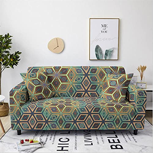 Stretch Sofa Cover Geometric Patterns 1 Seater Printing All-Inclusive Couch Cover Elastic Polyester Spandex Sofa Covers Universal Urniture Protective Decorative Slipcovers