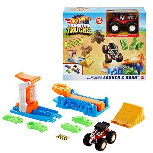 Hot Wheels GVK08 - Monster Trucks Startrampen-Crash Spielset mit 4 Autowracks, Monster Truck im Maßstab 1:64 für Crash-Action, für Kinder von 4 bis 8Jahren