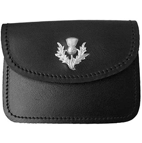 Sac de ceinture de kilt en cuir noir écossais pour homme avec chardon sur rabat