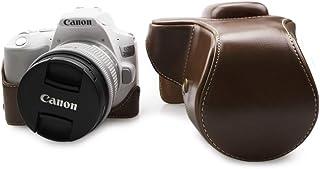 kinokoo Kameratasche PU Leder Cover kompatibel für Canon EOS 200D/Rebel SL2/EOS Kiss X9 und 18 55 mm Objektiv, Canon EOS Rebel SL3/EOS 250D/200D II Kameratasche (braun)