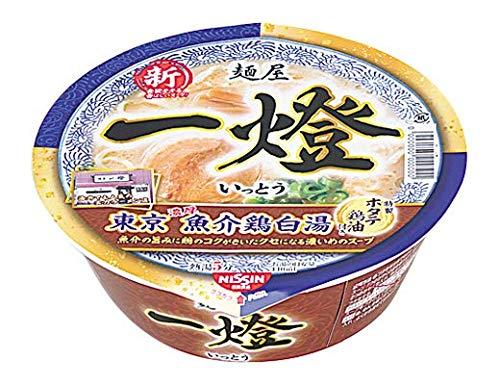 【販路限定品】日清食品 麺屋一燈 ホタテ鶏油の濃厚魚介鶏白湯ラーメン 121g×12個