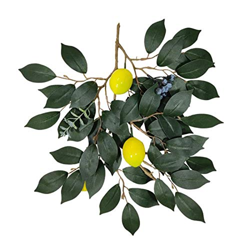 5Pack Artificial Lemon Branches, 36inch Fake Green Leaves Spray with Lemon Fruits, Greenery Twig Garland Decorative Fruit Branch for Home Weddng Party Decor Photography Prop