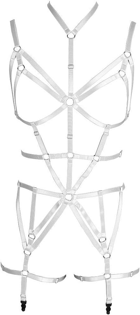 Full Body Harness Bra Garter Set Women's Lingerie cage Punk Gothic Belt Festival Rave Adjustable siz Dance Apparel