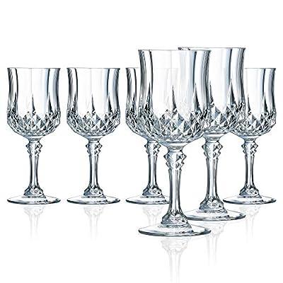 Cristal D'Arques Longchamp 8.25 Ounce Goblet Glass, Set of 6, Clear