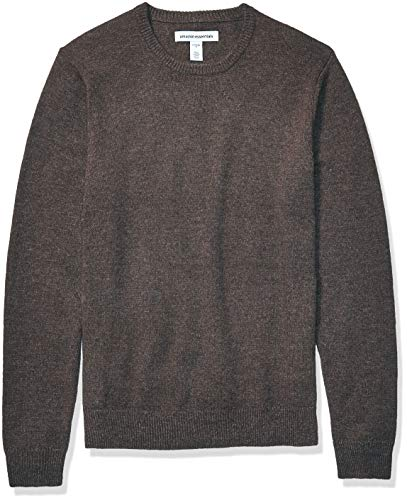 Amazon Essentials Men's Midweight Crewneck Sweater, Brown Heather, Large