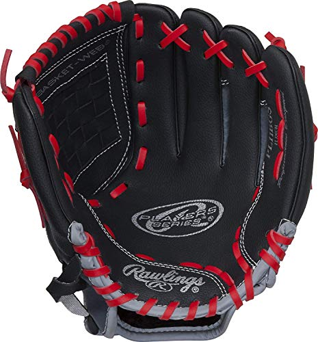 "Rawlings Youth Players Series Glove, Black/Grey/Red, 11"", Worn on Left Hand"