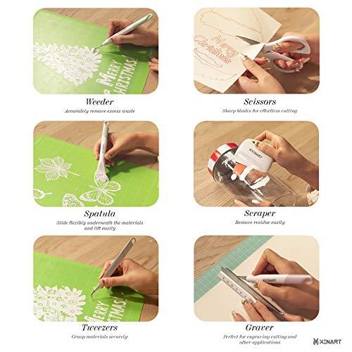Xinart Weeding Tools Set for Vinyl Craft Knife/Weeder/Scraper/Spatula/Tweezers/Scissors Basic Weed Removal Tool Kit for Cricut Stencils/Oracal Vinyl/Siser HTV/Silhouette Cardstock