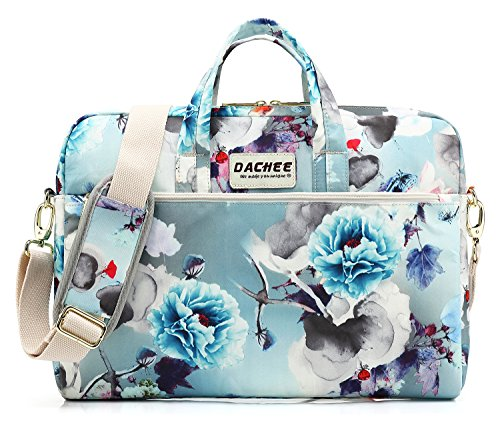 DACHEE Blue Flowers Pattern 15 inch Waterproof Laptop Shoulder Messenger Bag for 14 Inch to15.6 inch Laptop and Macbook Pro 15 laptop Case