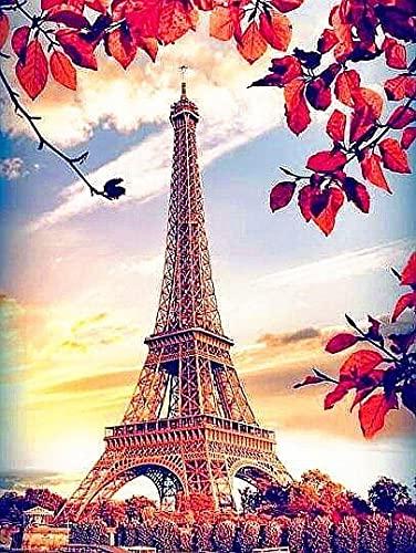 Torre Eiffel paisaje de mosaico de diamantes completo bordado de diamantes imagen de diamantes de imitación pintura de diamantes A5 cuadrado completo 60x80cm