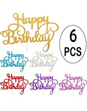 OWill 6pcs Happy Birthday Cake Topper Gold Glitter Birthday Cupcake Topper for Party Decoration