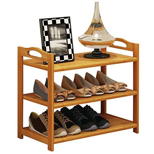 Yyqx Almacenamiento de Zapatos El Estante de bambú de 3 Capas del Estante for Zapatos Ahorra Espacio y el Almacenamiento multifunción Puede acomodar 9 Pares de Zapatos (Color Natural) Zapatero