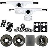 TGM Skateboards 180mm White Longboard Trucks + 70MM Black 82A Wheels + Bearings...