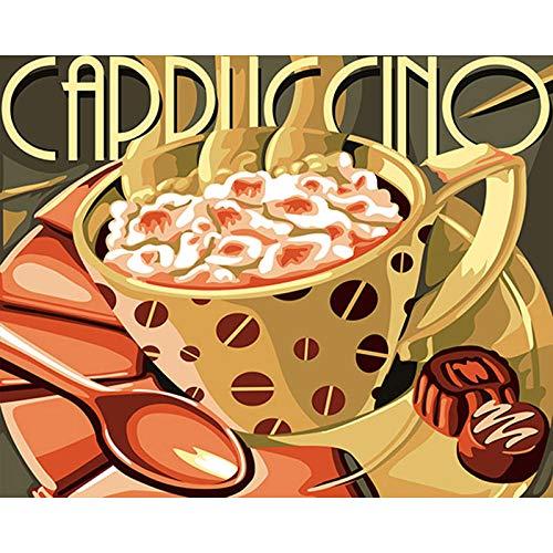 QRTQ DIY schilderen op cijfers voorbedrukt canvas-olieverfschilderij abstract cappuccino-nachtkastje op canvas geschenk schilderen op nummerskits huis decoratie zonder lijst 40x50 cm