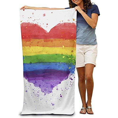 Niet van toepassing Microfiber Beach Towel Wrap Liefde Regenboog Hart Handdoeken Badpak Bad en Douche Handdoek Beach Deken voor Vrouwen & Mannen, Meisjes & Jongens 32 x 52 Inch