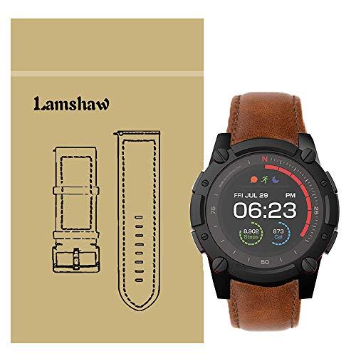 LvBu Armband Kompatibel mit PowerWatch 2, Quick Release Leder Classic Ersatz Uhrenarmband für Matrix PowerWatch 2 Smartwatch (Braun)