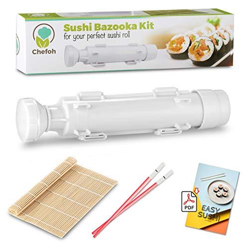 Sushi All-In-One Sushi Bazooka, Sushi Matte & Bambus-Essstäbchen-Set, DIY Reisroller, sehr einfach zu bedienen, lebensmittelechte Kunststoffteile Sushi Bazooka Kit w/Light Chopstix