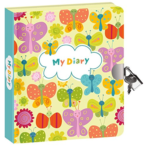 Peaceable Kingdom Butterflies Glow in The Dark 6.25' Lock and Key, Lined Page Diary for Kids