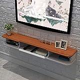 DFJU Set-Top Box flutuante de gabinete de TV montado na Parede Roteador DVD Player Prateleira de armazenamento Suporte de TV Prateleira Multifuncional Branca 1.2M / 1.4M (Cor: MARROM, Tamanho: 120cm)